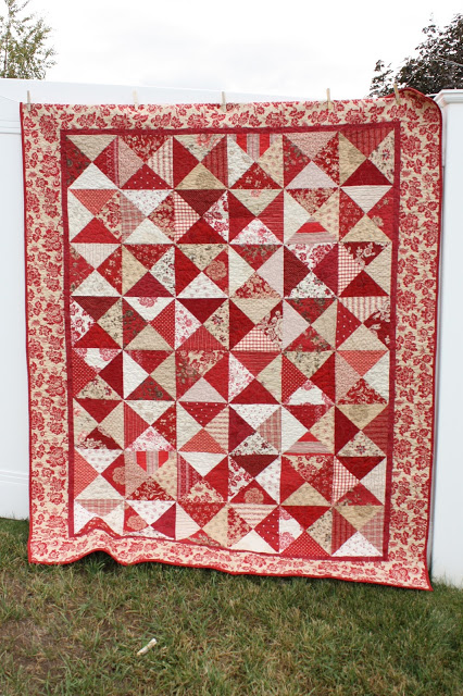 Hour Glass Layer Cake (precuts) quilt pattern using French General Fabric