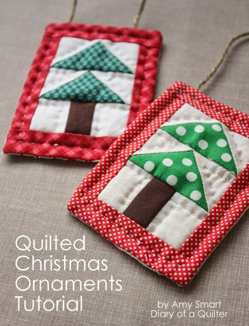 """""""Mini Christmas Tree Quilt Ornament Tutorial"""" is a Free Quilted Christmas Ornament Pattern designed by Amy Smart from Diary of a Quilter"""
