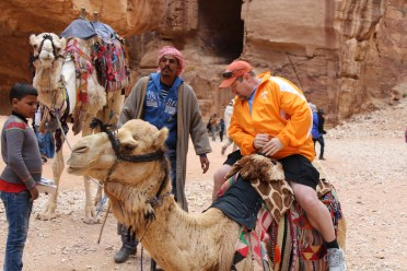 At Petra, my husband rode a camel, which are offered to tourists by Bedouins.