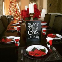 Budget Christmas Dinner Table Setting & Centerpieces