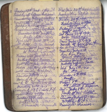 E.L.G. War Diary, 18/06 to 09/07/1916