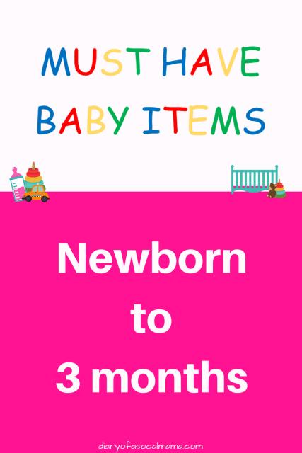 Baby items newborn to 3 months