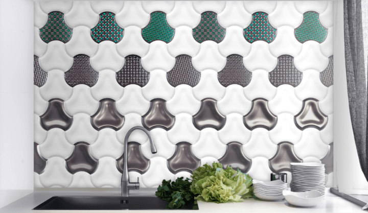 Pop White and Metal designs from Fan range by Bouquet Ceramic