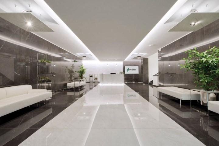 GranitiFiandre HQ featuring Marmi Maximum in Premium White and Pietra Grey