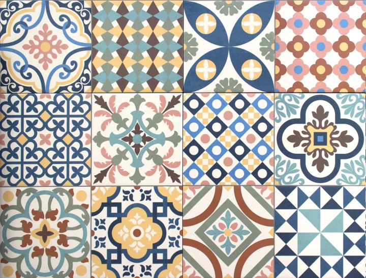 Colourful, decorative tile patchwork