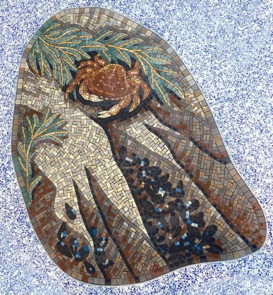 crab and mussels californian seashore mosaic hospital gary drostle
