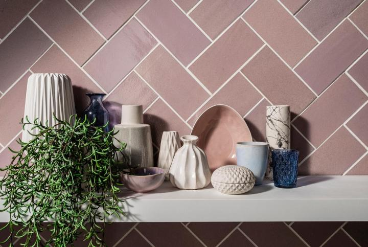 Sequel Paddington Pink (200x100mm) Alusid Clerkenwell recycled tiles
