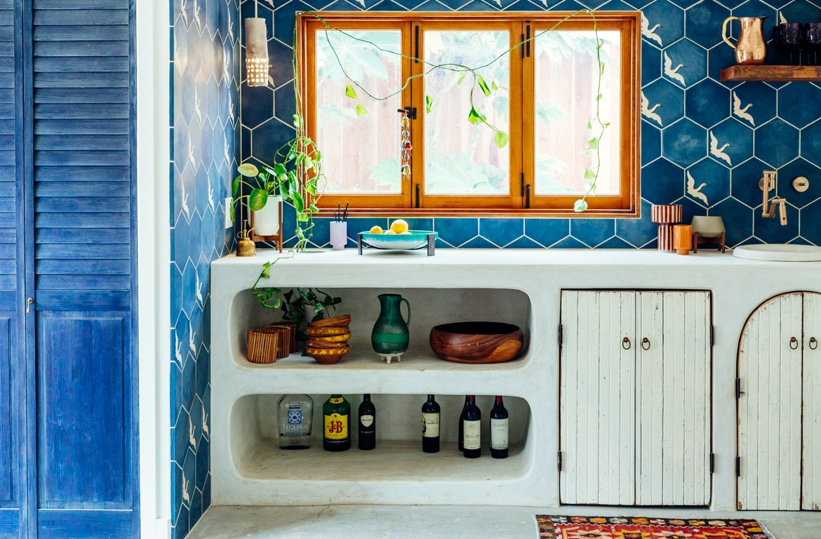 Tiled sink area of casita