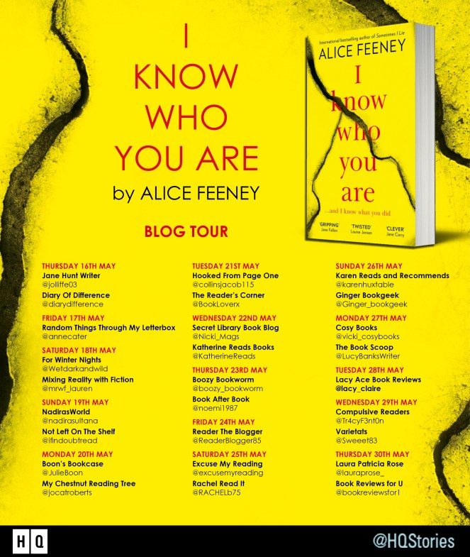 I Know Who You Are by Alice Feeney blog tour book review books diary of difference diaryofdifference love mystery thriller hq harper collins harpercollins