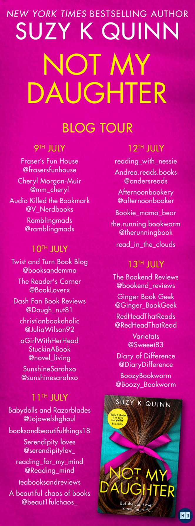 Not My Daughter by Suzy K Quinn HQ Blog Tour Book review blogger blogging diary of difference diary of difference