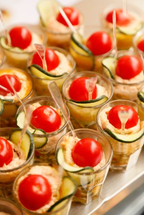 Salmon and courgette mousse wedding in France canapés