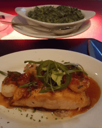 Spicy salmon & shrimp with a side of creamed spinach