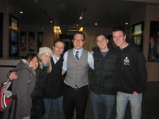 Justin Yang and friends from the Hopkins-Nanjing Center at the Fei Cheng Wu Rao taping.
