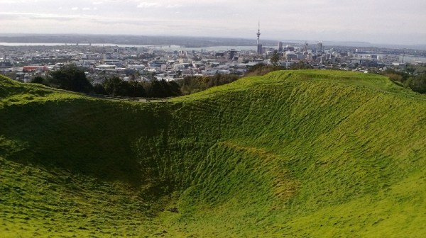 On the top of Mount Eden.
