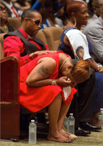 Richard Perry/AP Lesley McSpadden, the mother Michael Brown, cries during her son's funeral on August 25, 2014