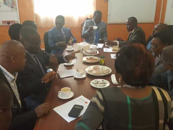 Cord leader Raila Odinga having a breakfast meeting at the Orange house with ODM leaders.Photo/COURTESY