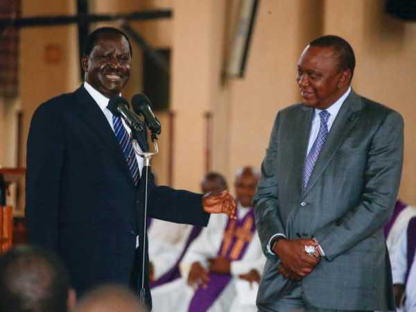 President Uhuru Kenyatta with former Prime Minister Raila Odinga during the late Mzee Jomo Kenyatta's 38th Anniversary Memorial Service./PSCU