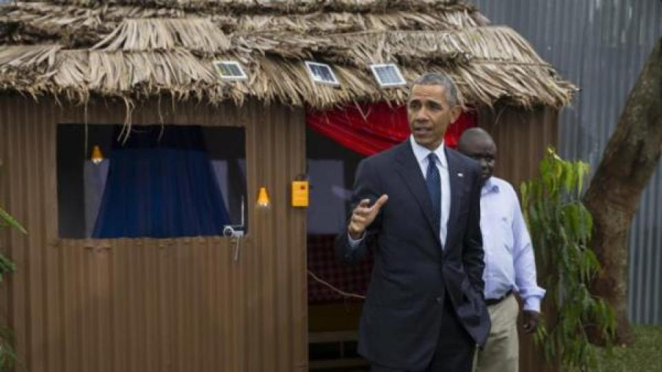 President Barack Obama makes remarks during a tour of the Power Africa Innovation Fair, Saturday, July 25, 2015, in Nairobi. Obama's visit to Kenya is focused on trade and economic issues, as well as security and counterterrorism cooperation. (AP Photo/Evan Vucci)