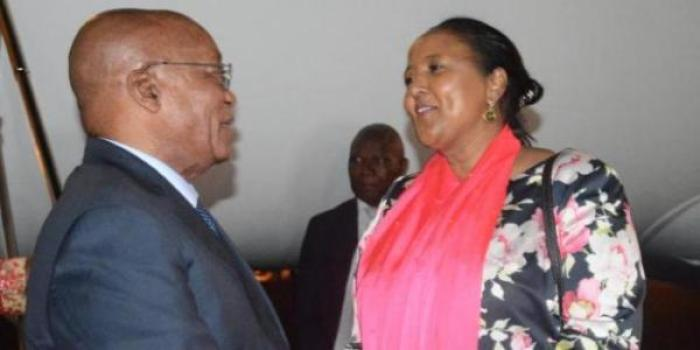 South Africa's President Jacob Zuma received by Amina Mohamed on Monday night
