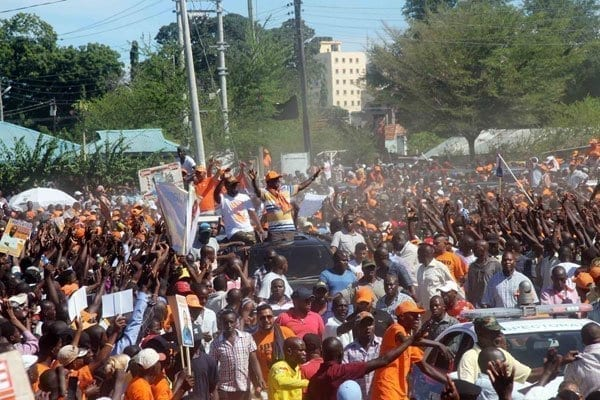 ODM leader Raila Odinga and deputy party leader and Mombasa Governor Hassan Joho arrive at Tononoka grounds to address a rally on March 26, 2017. The rally ended in chaos as aspirants jostled for Mr Odinga's 'blessings'. PHOTO LABAN WALLOGA | NATION MEDIA GROUP