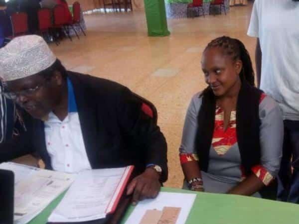 Nairobi governor aspirant Miguna Miguna with his running mate Karen Wangenye at Kasarani stadium in Nairobi, June 1, 2017. /JULIUS OTIENO