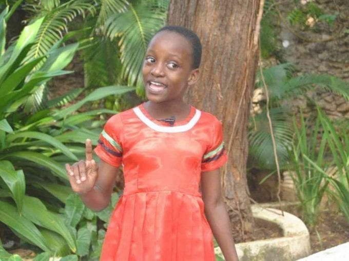 Eight-year-old Mercy Kisagi, who recited a poem for President Uhuru Kenyatta and DP Wiliam Ruto, during an interview at Sea View Resort in Malindi, July 24, 2017. /ALPHONCE GARI