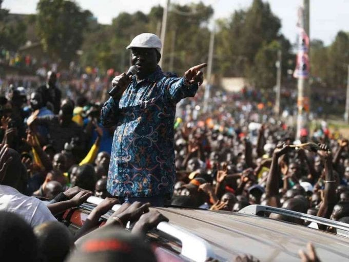 NASA chief Raila Odinga addresses supporters in Nairobi's Mathare slums, August 13, 2017. /JACK OWUOR