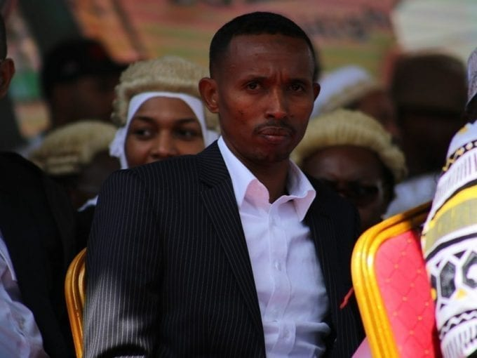 Nyali MP Mohamed Ali follows proceedings during Hassan Joho's inauguration for his second term as Mombasa Governor at Mama ngina grounds in the county, August 22, 2017. /JOHN CHESOLI