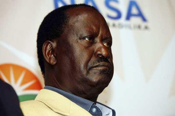 Nasa flag bearer Raila Odinga at a press