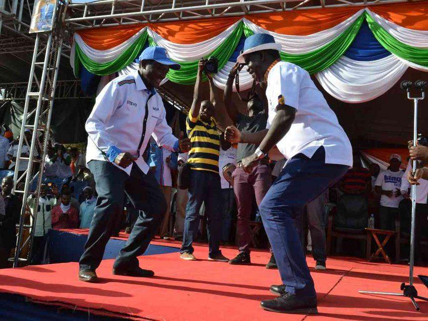 NASA leader Raila Odinga and his running mate Kalonzo Musyoka during a past political rally at Voi. /RAPHAEL MWADIME