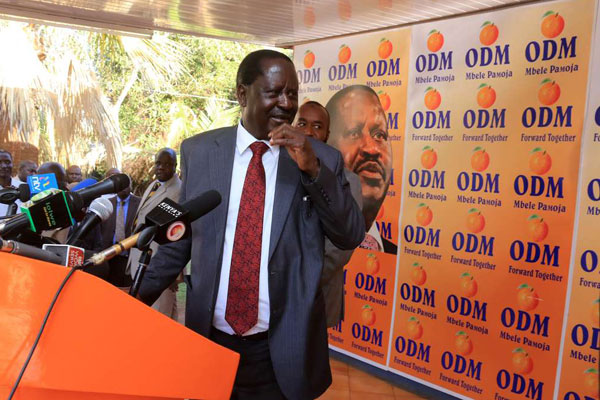 ODM leader Raila Odinga at Orange house on April 11, 2017. A lobby group has moved to court seeking to block Mr Odinga from contesting for the Presidency. PHOTO | JEFF ANGOTE | NATION MEDIA GROUP