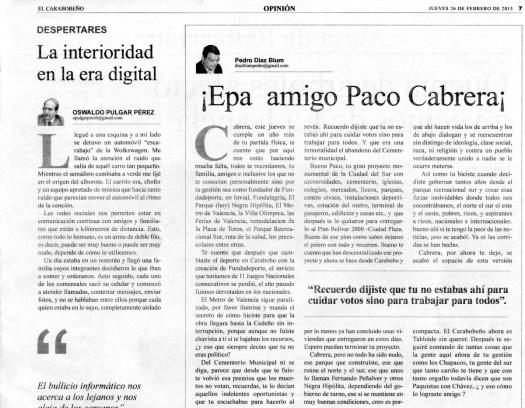 ¡Epa amigo Paco Cabrera!