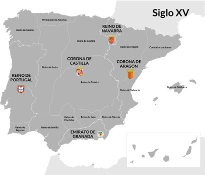 Los cinco reinos en 1480, antes de comenzar la guerra de Granada. Castilla era el reino central, el más poblado y rico. La conquista de Granada corrió a su cargo. La de América también.
