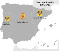 La guerra de Sucesión dividió el país entre partidarios de Carlos de Habsburgo y Felipe de Borbón. La corona de Aragón y el rey de Portugal apoyó al primero.