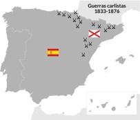 Las guerras carlistas se extendieron durante medio siglo en el País Vasco, Navarra, Cataluña y las serranías ibéricas. Los carlistas abogaban por la vuelta al Antiguo Régimen.