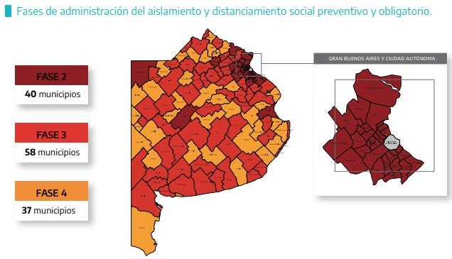 Mapa actualizado: ¿en qué fase quedó cada distrito bonaerense?