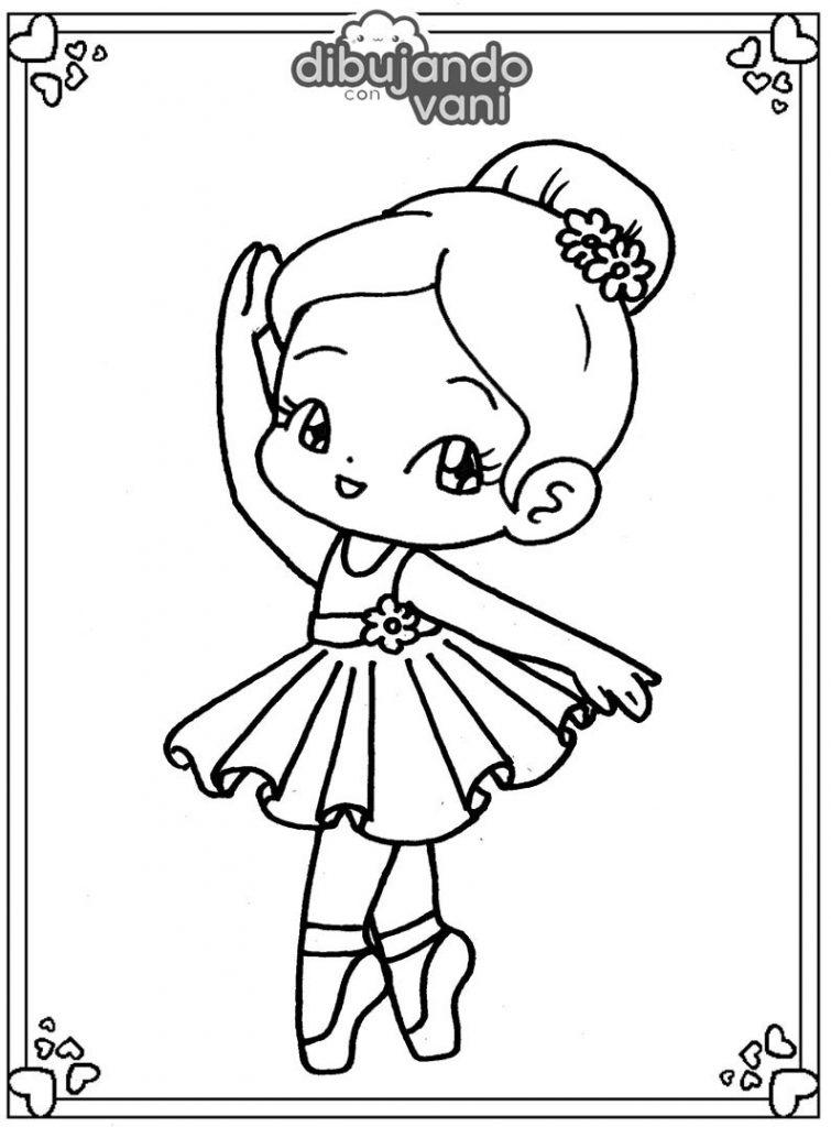 Dibujo de una bailarina para imprimir y colorear
