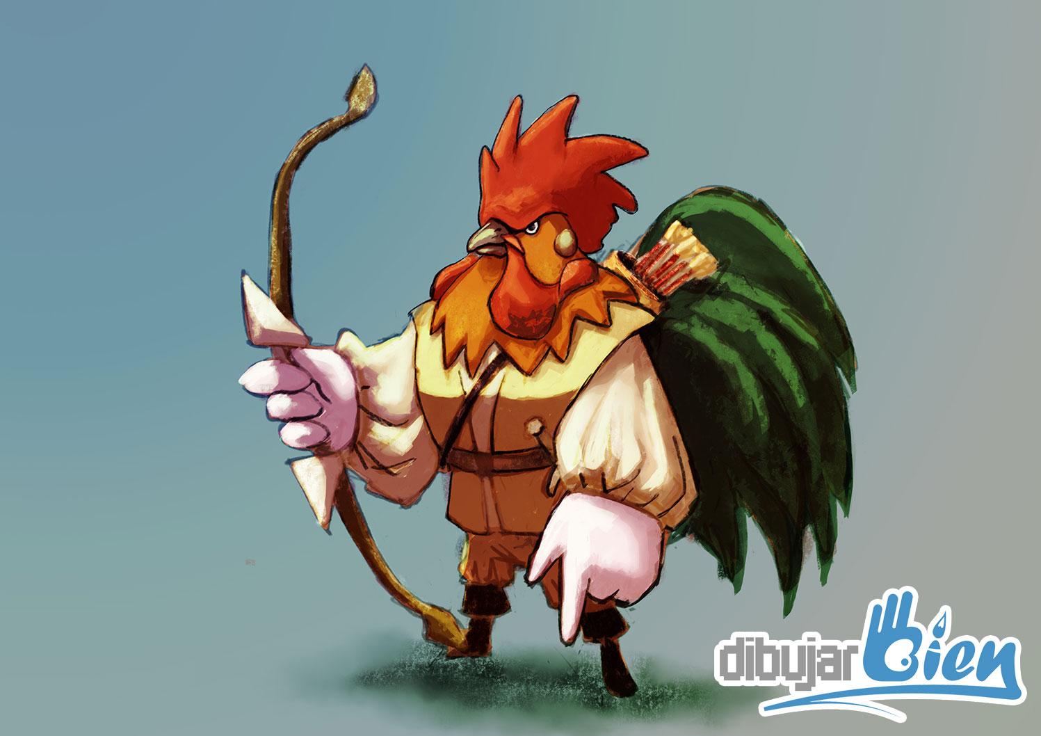 gallo-medieval-arquero - Dibujar Bien