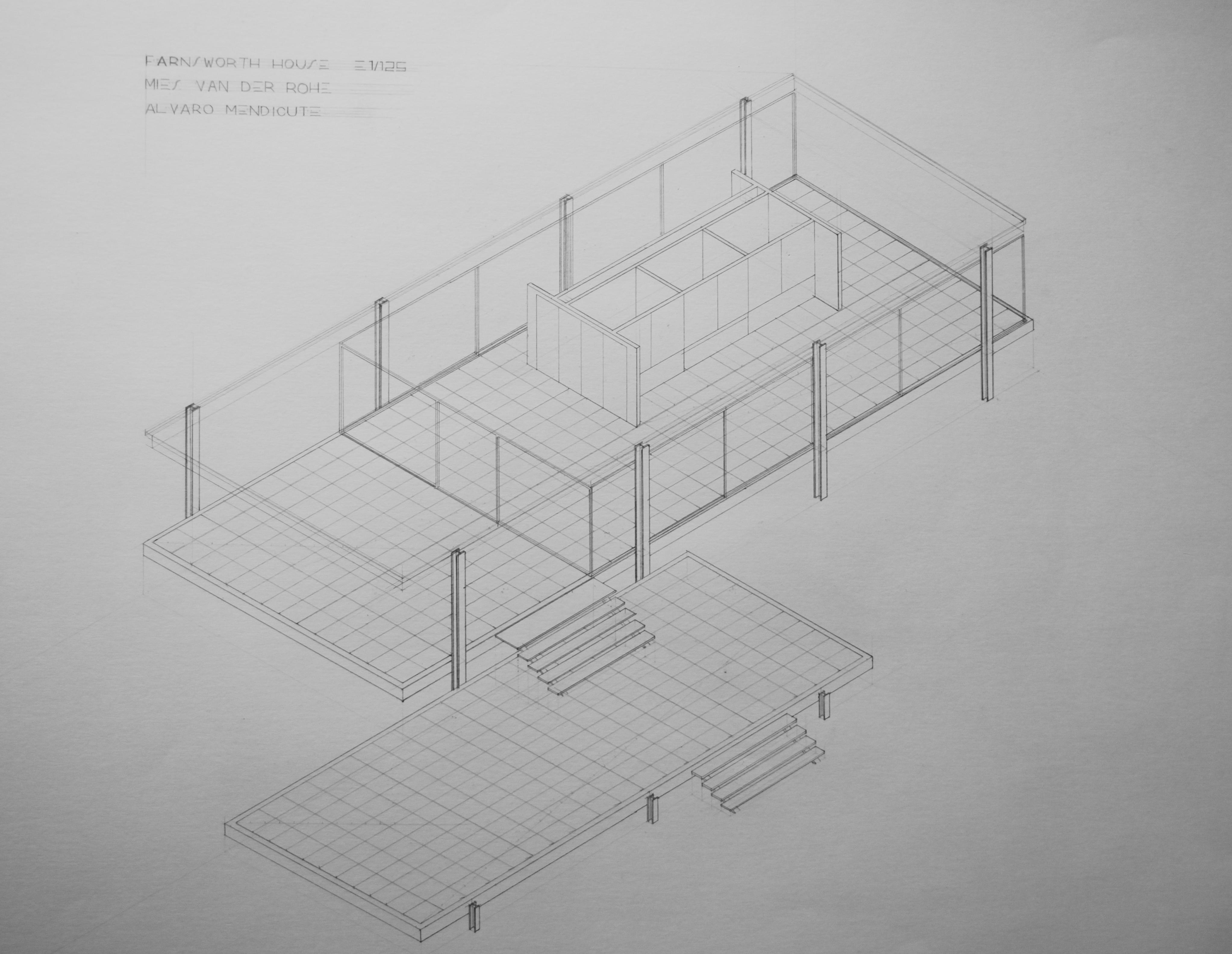 PEC_11 AXONOMTRICO CASA FARNSWORTH MIES VAN DER ROHE  dibujo_arquitectonico_ETSAUN