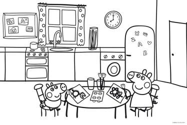 peppa y george en la cocina para imprimir y colorear Dibujos De