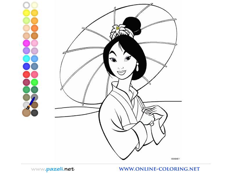 Dibujos Para Pintar Online Mulan De Disney I