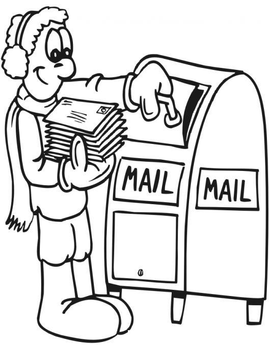 Correo Postal Dibujo De Hombre Depositando Cartas En El