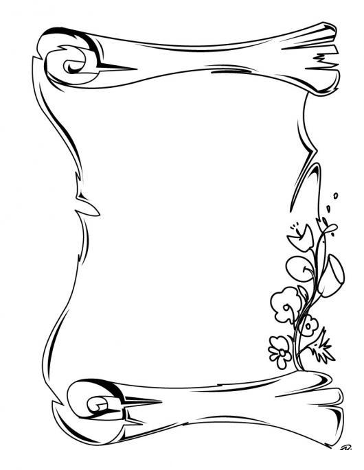 Dibujo De Un Pergamino Para Colorear Pintar E Imprimir