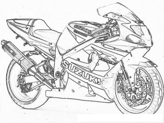 Dibujo De Moto Suzuki parecida a la yamaha R6 Para Pintar