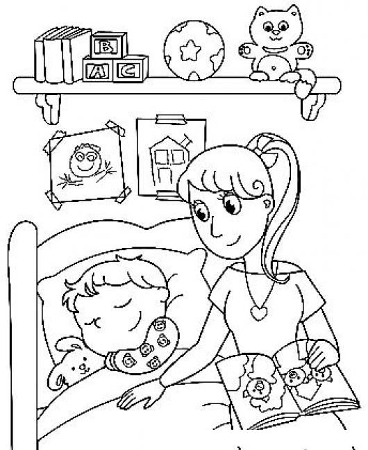 Dibujo De Mama Acostando Y Leyendo Un Cuento A Su Hijo En