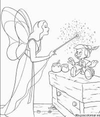Dibujo del hada madrina visitando a Pinocho