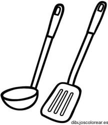 Dibujo de un cucharón y una espátula