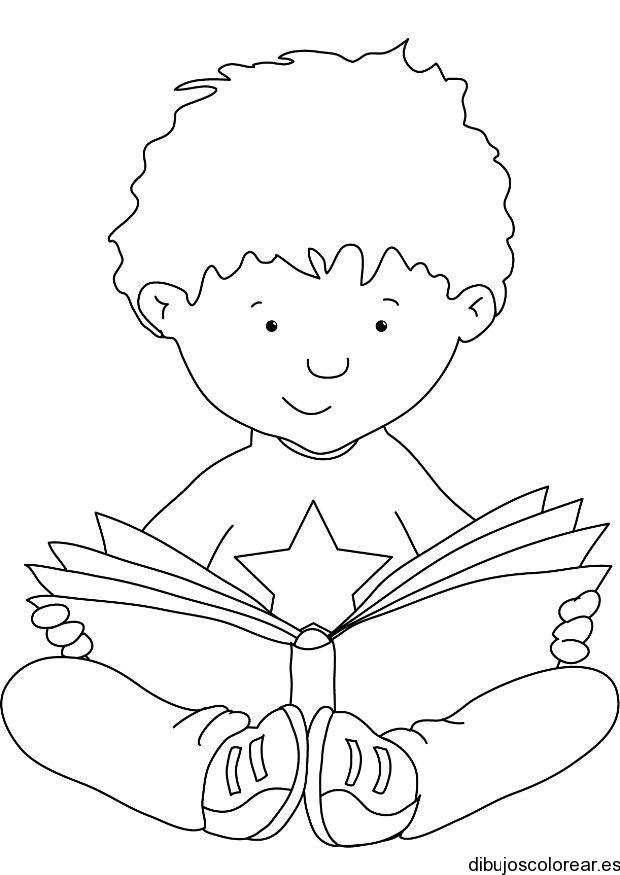 Dibujo de un niño leyendo un libro