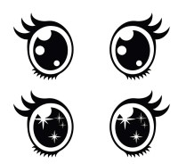 Ojos Kawaii. Imgenes PNG Dibujos para Colorear