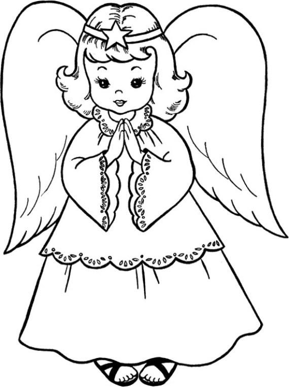 Angel Face Line Drawing : Dibujos de angeles navidad para colorear e imprimir